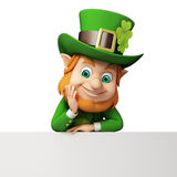 Leprechaun stands with white sign for st. patricks Stock Photos