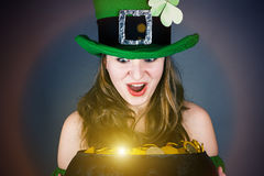 Leprechaun with surprise looks Royalty Free Stock Photo