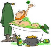 Leprechaun Taking A Bath Stock Image