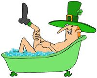 Leprechaun taking a bubble bath Stock Photo