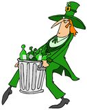 Leprechaun taking out the garbage Royalty Free Stock Images
