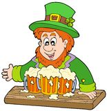 Leprechaun with three beers Royalty Free Stock Image