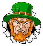 Leprechaun Mascot Cartoon Ripping Background royalty free stock photo