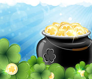 Leprechaun treasure and shamrock clover Royalty Free Stock Photos