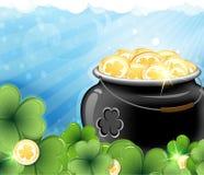 Leprechaun treasure and shamrock clover Royalty Free Stock Photos