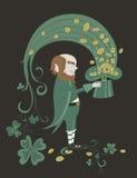 Leprechaun trzyma zielonego kapelusz z złocistymi monetami Fotografia Royalty Free