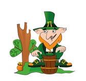 Leprechaun vector on a barrel. Happy St. Patricks Day celebration royalty free illustration