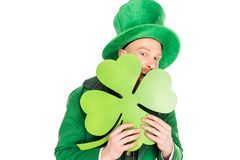 Leprechaun w zielonej kostiumu mienia koniczynie Zdjęcia Royalty Free