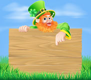 Leprechaun and Wooden Sign in Spring Field Stock Photography
