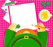 Leprechaun writing Royalty Free Stock Photo