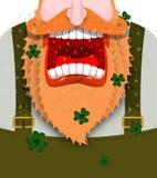 Leprechaun wrzaski Strasznego gnomu brody czerwoni krzyki Gniewny karłowaty sh Zdjęcie Stock