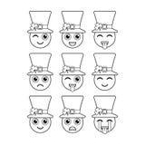 leprechauns Смайлики, emojis Характеры на день St Patricks вектор иллюстрация штока