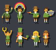 Leprechauns Ggnomes Characters set Celebration St Stock Photos