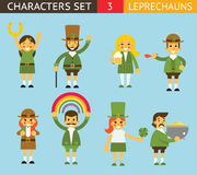 Leprechauns Ggnomes Characters set Celebration St Stock Photo