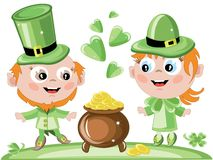 Leprechauns with a gold pot Royalty Free Stock Photography