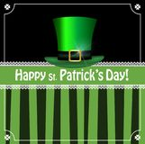 Leprechauns green hat on black and green striped background. Saint Patricks Day greeting card with festive symbol - leprechauns green hat, framed with elegant Royalty Free Stock Photography