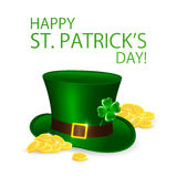 Leprechauns hat with clover and coins Royalty Free Stock Image