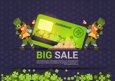 Leprechuns Hold Credit Card Sale For St. Patricks Day Holiday Poster Template Background Royalty Free Stock Image