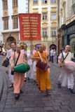 Lepri Krishna sulle vie di Praga fotografia stock libera da diritti
