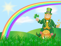 Leprikon on the pot of gold Stock Photos