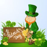 Leprikon St. patrick`s day with a mug of beer near a wooden shield with handwritten text Stock Photography