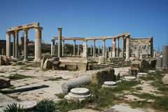 Leptis magna. The ancient roman market of leptis magna in libya royalty free stock photos