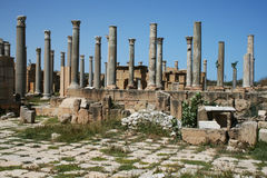 Leptis magna. The ancient roman market of leptis magna in libya stock photo