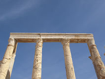 Leptis Magna. Columns from ther stage of Leptis Magna theater royalty free stock photo