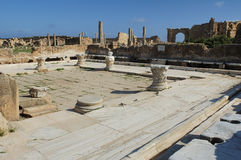 Leptis magna. The baths of adriano in leptis magna royalty free stock photos