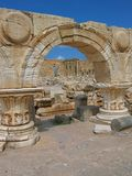 Leptis Magna - colonnade with arches of the Severan Forum. Libya. Leptis Magna. The Severan Forum surrounded by colonnaded with arches placed directly on the Stock Images