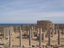 Leptis Magna old market stock image