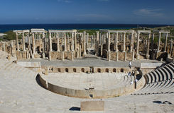 Leptis magna. The ruins of the ancient theatre in Leptis Magna stock photo