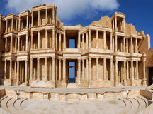 Leptis magna. The ruins of the ancient theatre in Leptis Magna royalty free stock photography