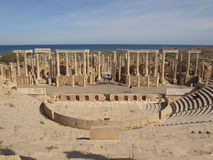Leptis Magna theater. Theater and stage in Leptis Magna royalty free stock photos
