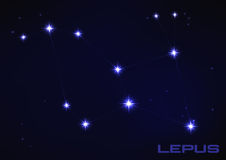 Lepus constellation. Vector illustration of Lepus constellation in blue Royalty Free Stock Image