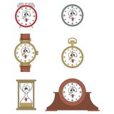 Ler den roliga klockaframsidan för tecknade filmen 03 Arkivfoto