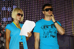 Lera Kudryavtseva and Sergey Lazarev. The photograph was taken at a rehearsal of the international competition of young singers New Wave 2009 Dzintari Concert Royalty Free Stock Image