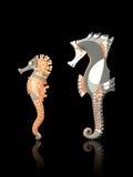lera tillverkade seahorses Arkivfoto