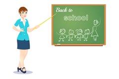 Leraar dichtbij bord, vectorillustratie op witte achtergrond, Dag van kennis, terug naar school Stock Fotografie