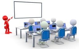 Leraar die aan verscheidene studenten, met notebo spreekt Stock Fotografie