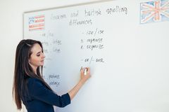 Leraar die verschillen tussen Amerikaanse en Britse spelling verklaren die op whiteboard Engelstalige school schrijven royalty-vrije stock foto's