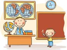 Leraar en een leerling bij de les vector illustratie