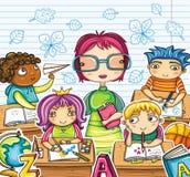 Leraar en kinderen   Stock Foto's