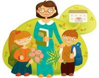 Leraar en kinderen Royalty-vrije Stock Fotografie