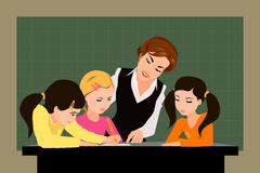 Leraar en leerlingen in het klaslokaal Stock Foto
