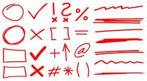Leraar Hand Drawn Corrections in Rood met Doopvontelementen & Pijlen die wordt geplaatst Stock Foto's
