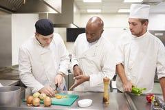 Leraar Helping Students Training aan het Werk in Catering stock foto's