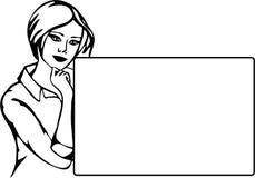 Leraar met een banner Royalty-vrije Stock Afbeeldingen