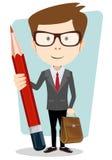 Leraar met een potlood om te verbeteren en te bestuderen, vector Stock Foto's