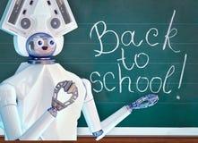 Leraarsrobot met schoolkindmeisje in schoolklasse dichtbij bord stock foto